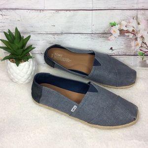 Toms Denim Blue/Tan Slip-On Canvas Men Shoes Sz 13